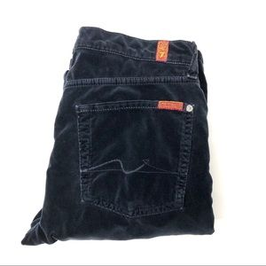 7FAM Midnight Blue Velour Low Rise Boot Cut Jeans